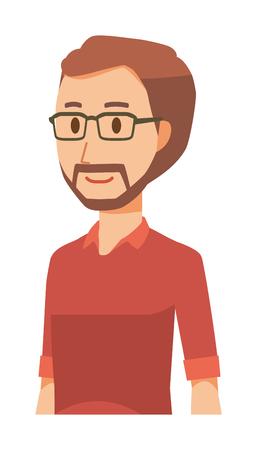 A bearded man wearing eyeglasses is walking