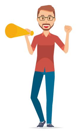 A bearded man wearing eyeglasses has a megaphone  イラスト・ベクター素材