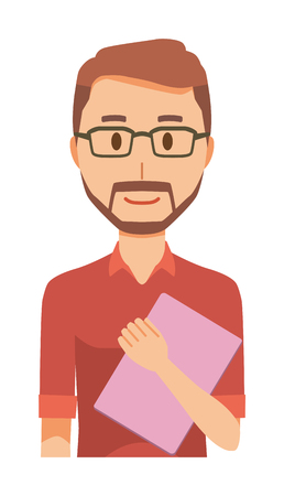 A bearded man wearing eyeglasses has a file Vectores