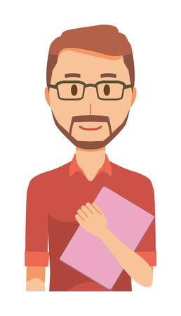 A bearded man wearing eyeglasses has a file Illustration
