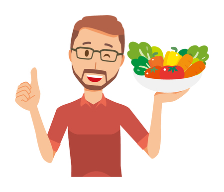 A bearded man wearing eyeglasses has vegetables  イラスト・ベクター素材