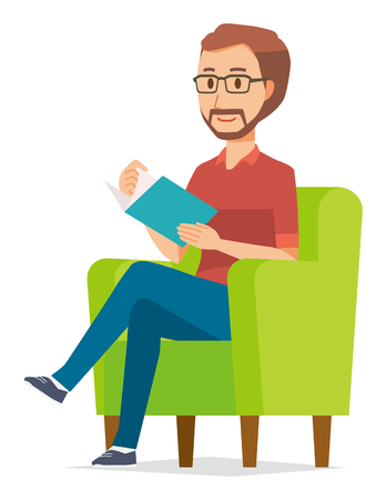 A bearded man wearing eyeglasses is reading on a sofa Vectores