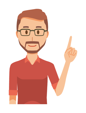 A bearded man wearing eyeglasses is pointing