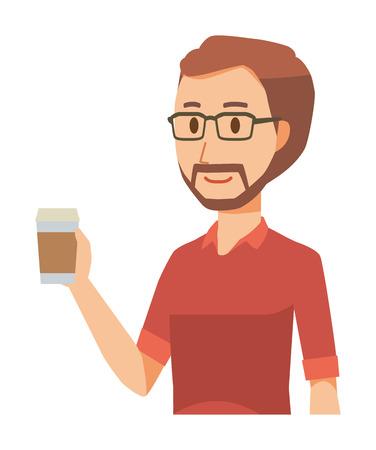 A bearded man wearing eyeglasses is walking with coffee Illustration