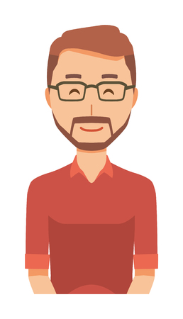 A bearded man wearing eyeglasses is smiling Ilustração