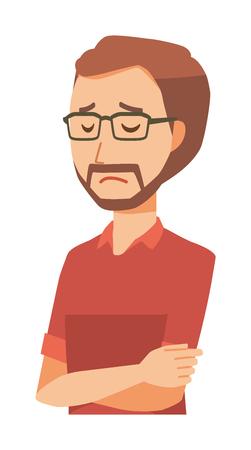 A bearded man wearing eyeglasses is depressed