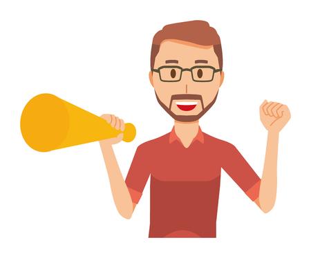 A bearded man wearing eyeglasses has a megaphone Illustration