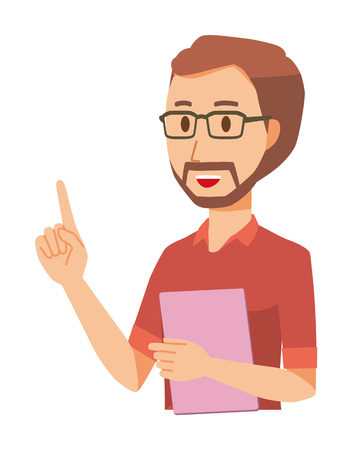 A bearded man wearing eyeglasses has a file. And he points out  イラスト・ベクター素材