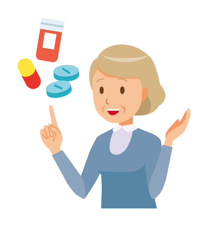 An elderly woman wearing blue clothes is explains about medicine Ilustração