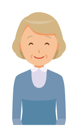 An elderly woman wearing blue clothes is smiling Ilustração