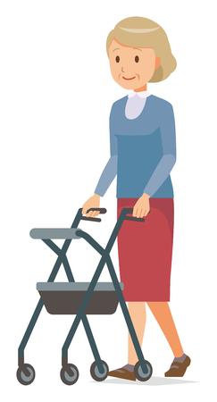Eine ältere Frau in der blauen Kleidung geht mit einem Wagen für die ältere Standard-Bild - 99916774