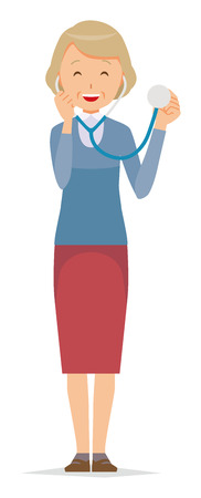 An elderly woman wearing blue clothes has a stethoscope Illustration