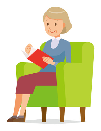 An elderly woman wearing blue clothes is reading on a sofa Illustration