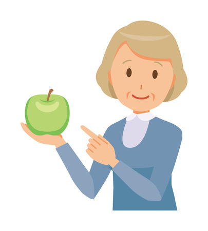 An elderly woman wearing blue clothes has a green apple. Ilustração