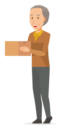 An elderly man wearing brown clothes has a box