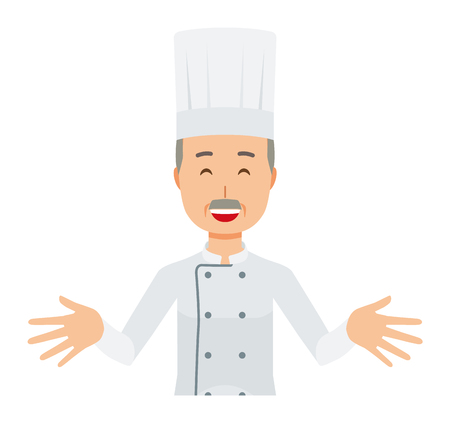 An elderly male chef wearing a cook coat is standing. And he open both hands and welcome you