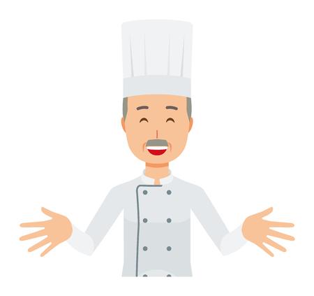 Un cocinero de sexo masculino mayor que lleva un abrigo de cocinero está de pie. Y abre ambas manos y te da la bienvenida