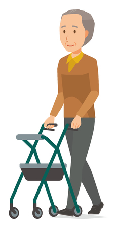An elderly man wearing brown clothes is walking with a cart for the elderly Illustration