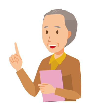 An elderly man wearing brown clothes has a file. And he points out