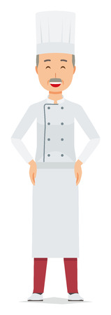 An elderly male chef wearing a cook coat is standing arms akimbo Ilustração