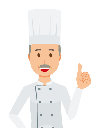An elderly male chef wearing a cook coat is showing thumbs up Ilustrace