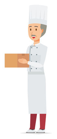 An elderly male chef wearing a cook coat has a box
