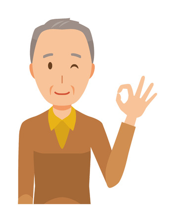 An elderly man wearing brown clothes is playing an okay sign