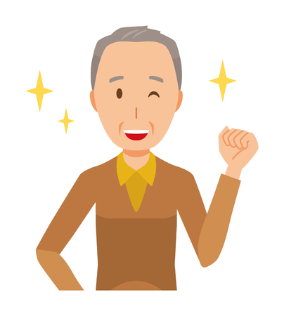 An elderly man wearing brown clothes is winking and raised one hand