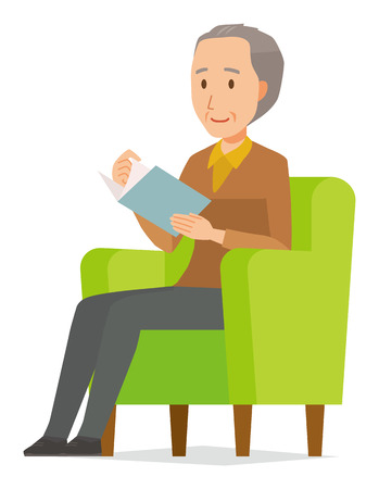 An elderly man wearing brown clothes is reading on a sofa