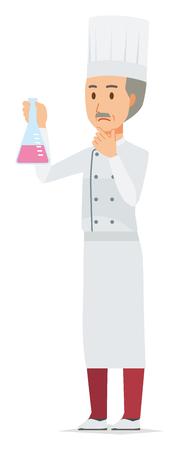 An elderly male chef wearing a cook coat has an erlenmeyer flask 일러스트