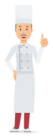 An elderly male chef wearing a cook coat is showing thumbs up Ilustração
