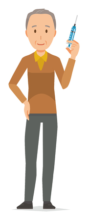 An elderly man wearing brown clothes has a syringe