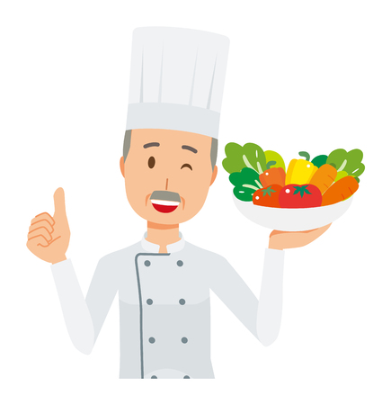 An elderly male chef wearing a cook coat has vegetables