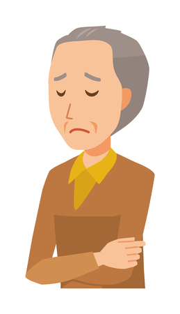 An elderly man wearing brown clothes is depressed