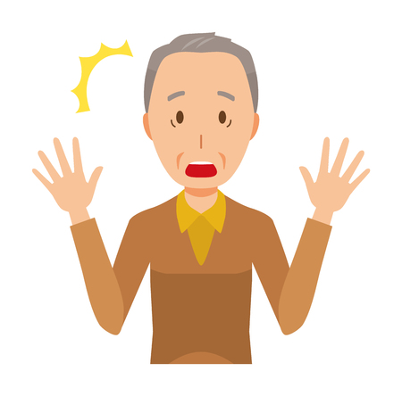 An elderly man wearing brown clothes is surprised 일러스트