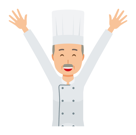 An elderly male chef wearing a cook coat is putting up both hands