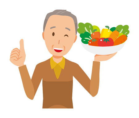 An elderly man wearing brown clothes has vegetables