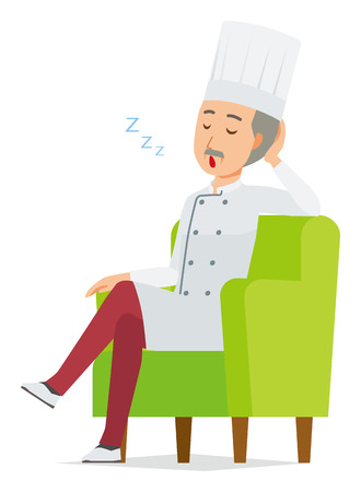 An elderly male chef wearing a cook coat is sleeping on a sofa