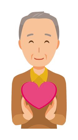 An elderly man wearing brown clothes has a heart mark