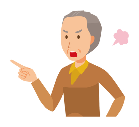 An elderly man wearing brown clothes is angrily pointing to a finger Illustration