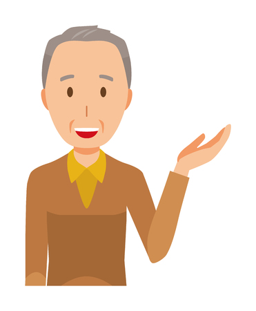 An elderly man wearing brown clothes is informed