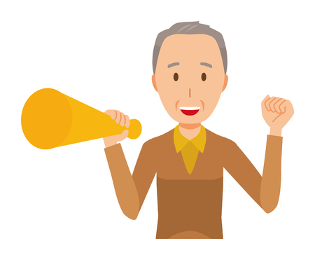 An elderly man wearing brown clothes has a megaphone Illustration