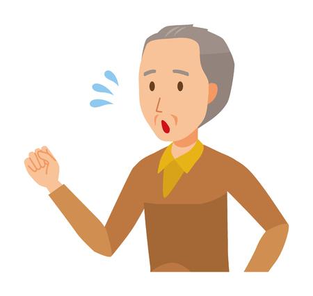 An elderly man wearing brown clothes is running