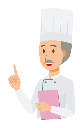 An elderly male chef wearing a cook coat has a file. And he points out