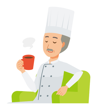 An elderly male chef wearing a cook coat is sitting on a sofa and drinking coffee 일러스트