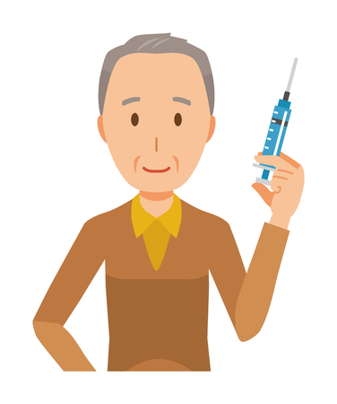An elderly man wearing brown clothes has a syringe 스톡 콘텐츠 - 115212028