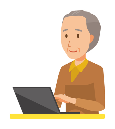 An elderly man wearing brown clothes is operating a laptop computer 일러스트