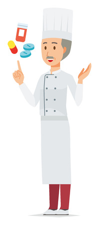 An elderly male chef wearing a cook coat is explains about medicine