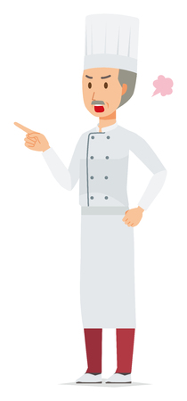 An elderly male chef wearing a cook coat is angrily pointing to a finger