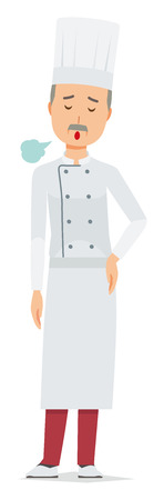 An elderly male chef wearing a cook coat is sighing 스톡 콘텐츠 - 115212039